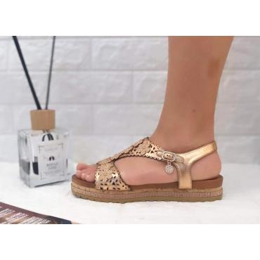Sandalo Donna Fantasia Fiori Champagne