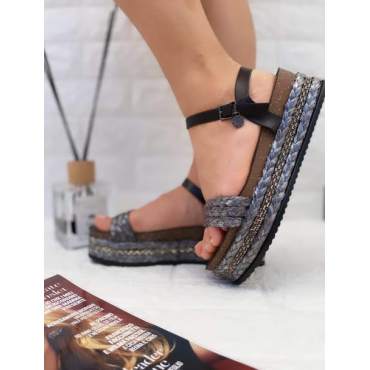 Sandalo Donna Con Zeppa E Cinturino Nero