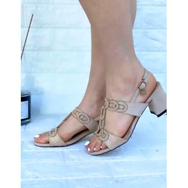 Sandalo Basso Con Doppia Fibbia E Vinturino Alla Cavigli Kaki