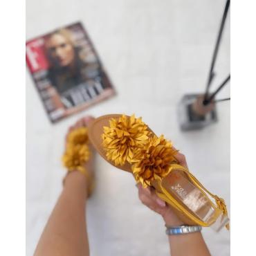 Sandalo Donna Basso Con Fiore Giallo