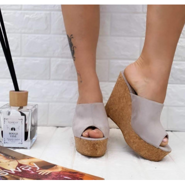 Sandalo Con Zeppa Spuntato Scalzato  Grigio