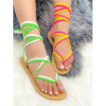 Sandalo In Cuoio Con Lacci A Schiava Beige
