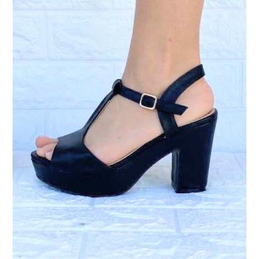 Sandalo Tacco Largo Designer Anni 60  Nero