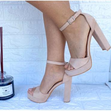 Sandalo Alto 11 Cm Con  Zeppa 3  Beige