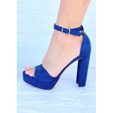 Sandalo Alto 11 Cm Con  Zeppa 3  Blu