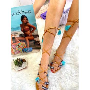Sandalo Donna Modello Cleopatra Con Bon-Bon Camel