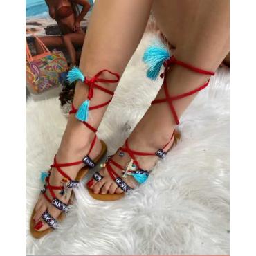 Sandalo Donna Modello Cleopatra Con Bon-Bon Rosso