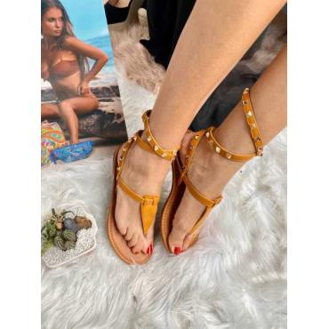 Sandalo Con Borchie In Oro