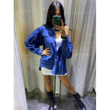 Camicia Di Jeans Con Manica A Sbuffo