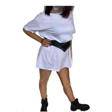 Maxi Shirt Lunga Elastica In Cotone