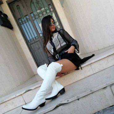 Super Alto Di Gamba Stivale Alla Moda Bianco
