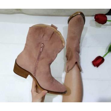 Campersos Donna Camoscio  Con Zip  Placca In Ferro  Tacco In Legno Rosa